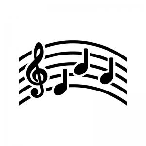 音楽・メロディの白黒シルエットイラスト02