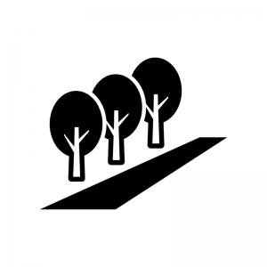 並木道の白黒シルエットイラスト