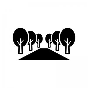 並木道の白黒シルエットイラスト02