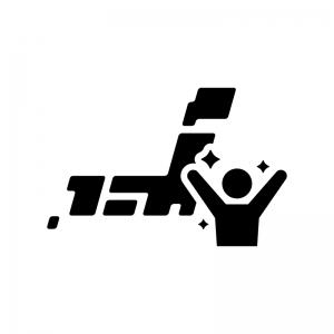 全国制覇・日本一の白黒シルエットイラスト02