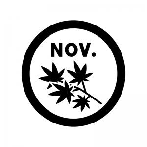 11月のイベントアイコンの白黒シルエットイラスト