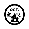 10月のイベントアイコンの白黒シルエットイラスト