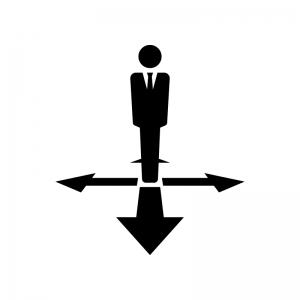 サラリーマンと矢印の白黒シルエットイラスト