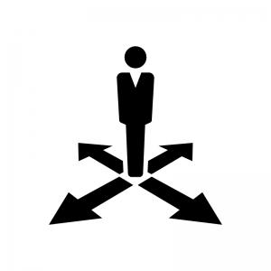 サラリーマンと矢印の白黒シルエットイラスト02