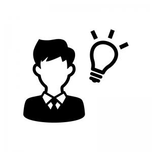 ビジネスアイディアの白黒シルエットイラスト