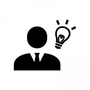 ビジネスアイディアの白黒シルエットイラスト02