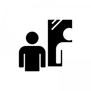 鏡と人物の白黒シルエットイラスト