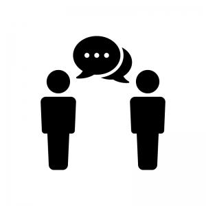 会話・意見の白黒シルエットイラスト