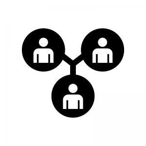 チームワークの白黒シルエットイラスト02