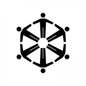 チームワーク・仲間の白黒シルエットイラスト02