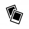 ポラロイド写真の白黒シルエットイラスト