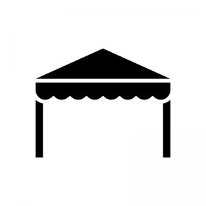 タープテント・イベントテントの白黒シルエットイラスト