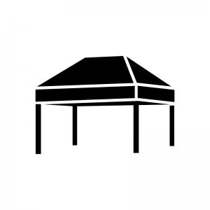 タープテント・イベントテントの白黒シルエットイラスト03