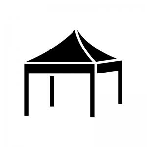 タープテント・イベントテントの白黒シルエットイラスト04