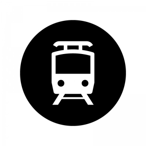 地下鉄の白黒シルエットイラスト02