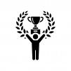 優勝・チャンピオンの白黒シルエットイラスト