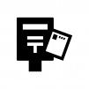 郵便ポストとハガキの白黒シルエットイラスト