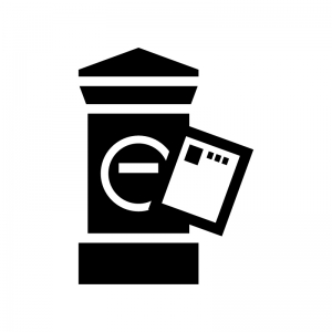 郵便ポストとハガキの白黒シルエットイラスト02