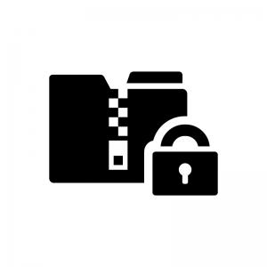 保護されたZIPファイルの白黒シルエットイラスト