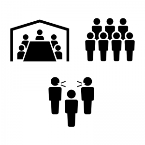 3密(密閉空間・密集場所・密接場面)のシルエット