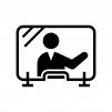 飛沫感染防止シート(アクリルパーテーション)と人物の白黒シルエットイラスト