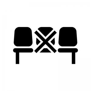 客席の規制の白黒シルエットイラスト