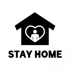 STAY HOME(ステイホーム)の白黒シルエットイラスト02