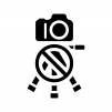 カメラと三脚の使用禁止の白黒シルエットイラスト